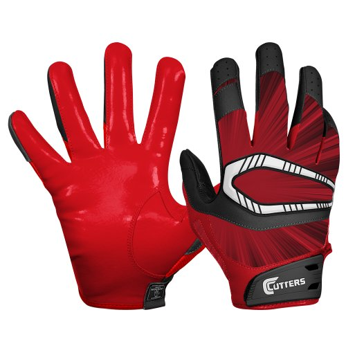 Cutters Gloves REV Pro Receiver Glove (Pair), Red, Large
