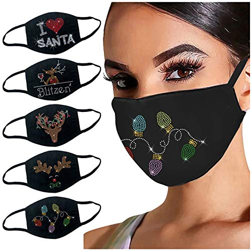 SPORTTIN 5PC Christmas Happy New Year 2021 Rhinestone Printed Womens Face Protection Xmas Gift Printed Soft Cotton Washable(D)