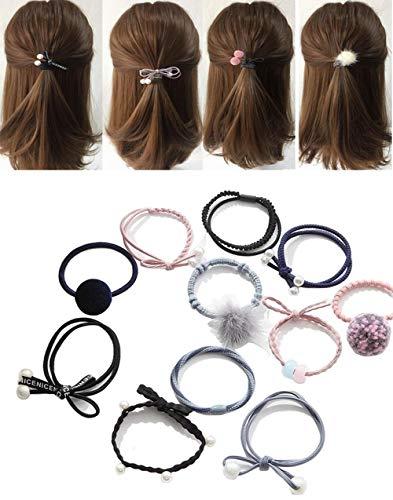 Boîte (12) assorties Styles caoutchouc Elastique Cheveux Cravate Cordes guides de queue de cheval Bandeau Cheveux Fermoir support de coiffure Styler Coiffure Accessoires pour femme/fille