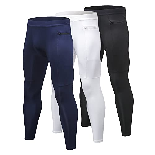 59f7d4bb15 Yuerlian 3 Pack Mens Compression Leggings Cool Dry Sport Pants Running Gym  Tights with Zip Pocket