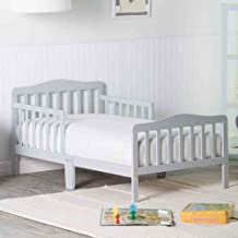 Orbelle Contemporary safe Solid Wood Toddler Bed / toddler beds for boys & toddler beds for girls / with toddler bed rails / Recommended for ages 18 Months to 5 Years - GREY