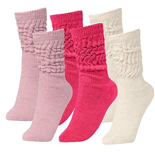 Brubaker Unisex 6er Pack Slouch Socken für Fitness Workout Yoga Gymnastik Wellness Pink/Rosa/Weiss Gr. 39/42