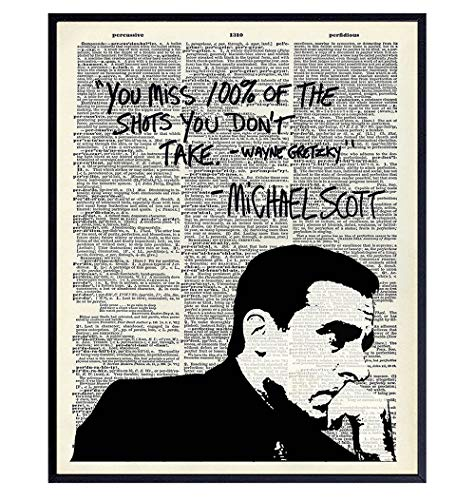 Michael Scott Quote Dictionary Art - Wayne Gretzky Saying - 8x10 Typography Wall Art Poster Print for Room Decor, Home or Apartment Decoration - Funny Affordable Gift for The Office Fans- Unframed