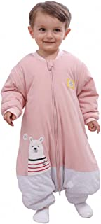 SCHLABIGU Schlafsäcke baby Winter Junge Mädchen Neugeborene overall Strampler - 2.5TOG mit Füßen kinder Ganzjährig Schlafanzug Körpergröße:90-105cm, Rosa Grau Eisbär