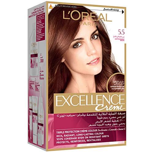 L'Oreal Paris Excellence Crème Permanent Hair Color, 5.5 Light Mahogany Brown