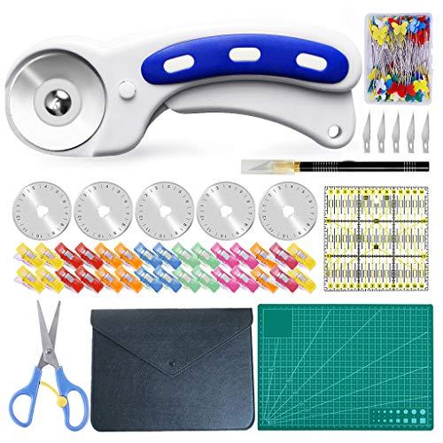 HahaGo Juego de cortador giratorio de 96 piezas,juego de cortador de tela de 45 mm,con 5 cuchillas de repuesto,clips de tela,tijeras,regla de patchwork,accesorios de costura para coser y acolchar