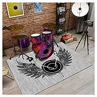 CXIA ロックンロールミュージックヴィンテージエリアラグ、ミュージックワークショップゲームルーム用長方形滑り止めカーペットリビングルームベッドルームフロアマット-9サイズ(Color:CX-02,Size:120x160cm)
