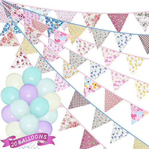 31.4 Feet Fabric Bunting Banners 36 Pieces Pink Triangle Flags with 20 Pieces Balloons and 2 Rolls Silk Ribbons, Pennant Bunting Garlands for Wedding Baby Shower Birthday Party Garden Decoration