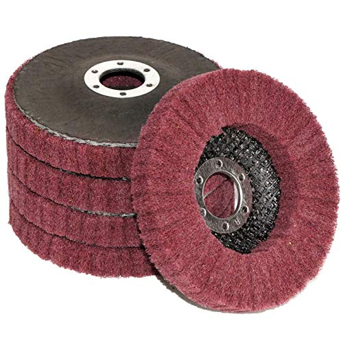 "FPPO 5Pcs 4.5"" x 7/8"" Nylon Fiber Flap Disc Polishing Grinding Wheel,Scouring pad Buffing Wheel for Angle Grinder, Polishing Tools (Grit 320)"
