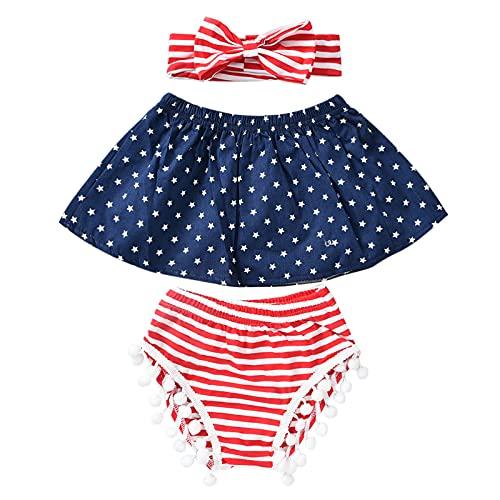 KEXIJIA Set da 3 pezzi per bambini e bambine Independence Day Strappy Striped Star One Shoulder Tops con balze + fascia Blu 70