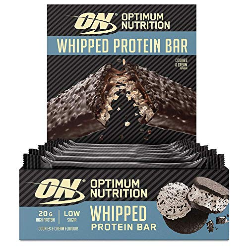 Optimum Nutrition ON Whipped Bar, High Protein Snack with Milk Chocolate Coating, Low Sugar Protein Bar, Cookies & Cream, 10 x 62 g Pack