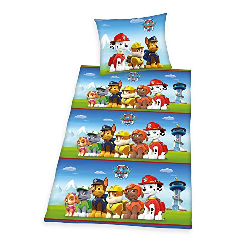 Herding Paw Patrol Bedding Set, Reversible, Pillow case 70 x 90 cm, Duvet cover 140 x 200 cm, Cotton/linen, multi-coloured
