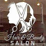 zxddzl Unisex Hair Salon Sticker Peluquería Calcomanía Peluquería Posters Vinilo Tatuajes de Pared Decoración Mural Hair Salon Sticker 74x61cm