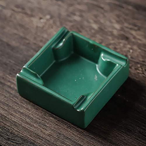 ZXD Posacenere retrò ceramiche Stile di Terracotta con Coperchio casa Soggiorno posacenere Ufficio Multifunzione, posacenere Verde Classica,Verde,10X10X3.7cm