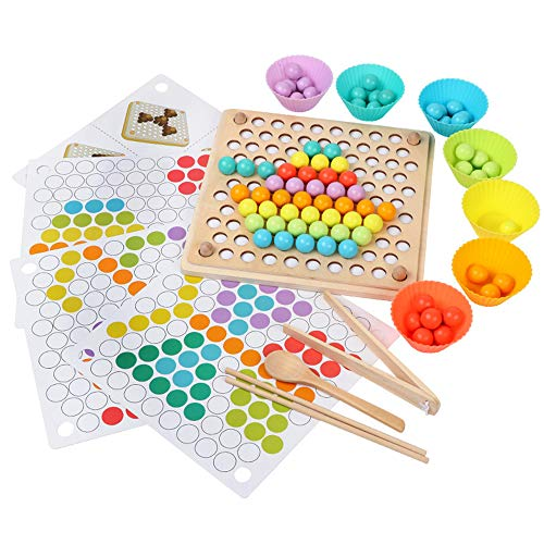 Best Price Montessori Educational Wooden Toys for Toddlers,Clip Beads Game Puzzle Board Kid Preschoo...