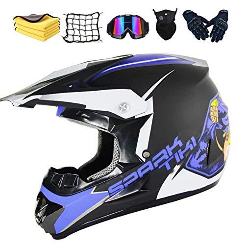 Casco de motocross para niño, con gorro, guantes, máscara, red elástica, para BMX, MTB, Quad Enduro, ATV, Scooter (C,XL)