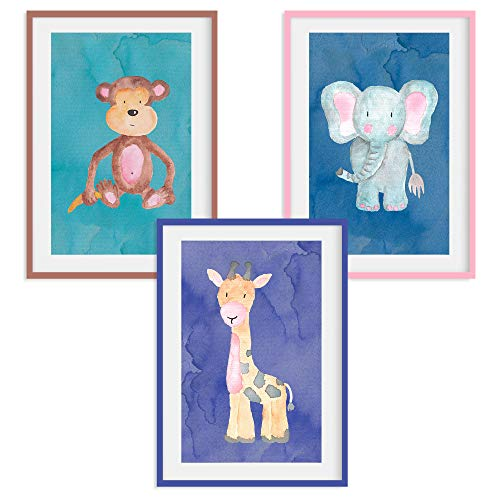 HappyWords® 3er Bilder Set - DIN A4 ohne Bilderrahmen | Bilder für Kinderzimmer & Bilder Babyzimmer | Junge Mädchen Baby | Kinder-Poster | Tiere Kinderbilder Kinderzimmer | AFFE Giraffe Elefant