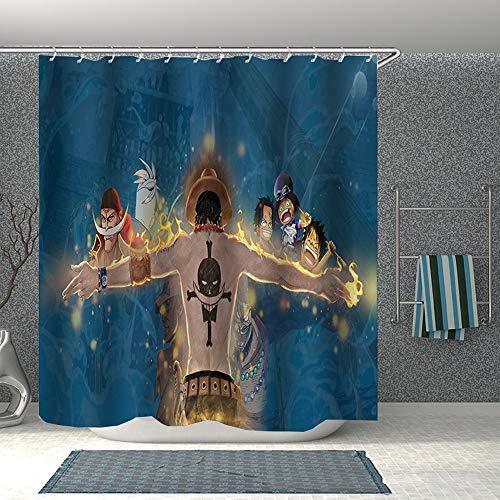 YUBAIBA Duschvorhang for One Piece: Portgas.D.Ace, 3D-Druck, wasserdicht Polyester Duschvorhang, wasserdichter Duschvorhang, Badezimmer-Zubehör mit Haken (Color : 200 * 200cm)