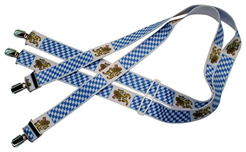 Blau-weiße Hosenträger | Bayerische Flagge mit Löwen und Rauten | Damen und Herren | One Size 120 cm | Anzug-Hosenträger | Arbeitskleidung-Hosenträger | Oktoberfest Tracht-Hosenträger | Teichmann