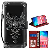 Samsung Galaxy S10+ Wallet Case Skull Angel's Wings Cross Bayonet Pattern Protective PU Leather Flip Cover with Credit Card Slots and Side Cash Pocket+Magnetic Clasp Closure