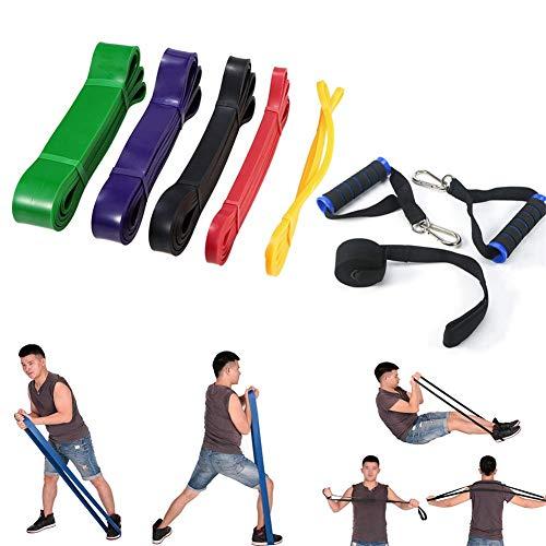 WYJW 5 stuks pull-up fitnessband – weerstandsbanden voor oefeningen met deuranker – duurzame natuurlijke latex, oefeningen aan de benen van de armen – voor training thuis