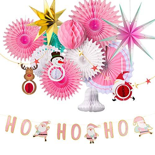 Sunbeauty roze kerstdecoratie kerstster papier rozetten kerstman hert sneeuwpop hanger Xmas decoratieset