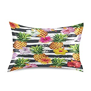 KEEPREAL Hibiscus Flowers Pineapples Satin Pillowcase for Hair and Skin Silk Pillowcase – Slip Cooling Satin Pillow Covers with Envelope Closure, Standard Size(20×26 inches)