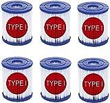SBKDPT Filtro de Piscina, Cartucho de Repuesto de filtros de bañera de hidromasaje, Cartucho de Bomba de Filtro de SPA para Piscina Tipo I para filtros Bestway SaluSpa, Paquete de 6