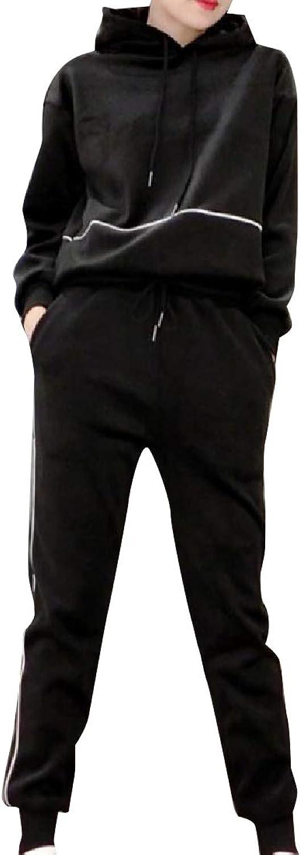 Doanpa Women LooseFit Velvet Lined Tracksuit Top Jogger Pants 2pcs