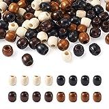 Craftdady 200Pcs Large Hole Barrel Wood European Loose Beads 4 Colors...