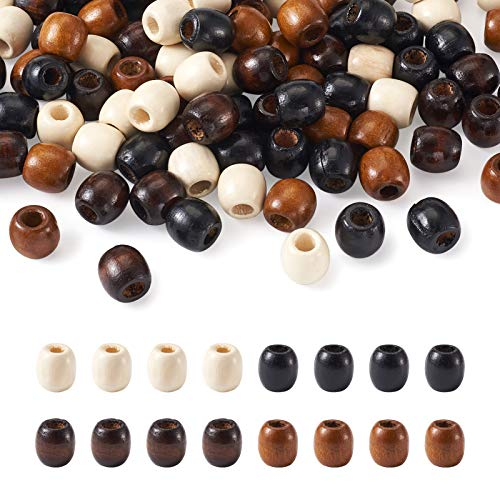Craftdady 200Pcs Large Hole Barrel Wood European Loose Beads 4 Colors Natural Wooden Dreadlock Hair Braid Beads 16x16-17mm for Macrame Rosary Bracelet Jewelry Craft Making Hole: 8mm
