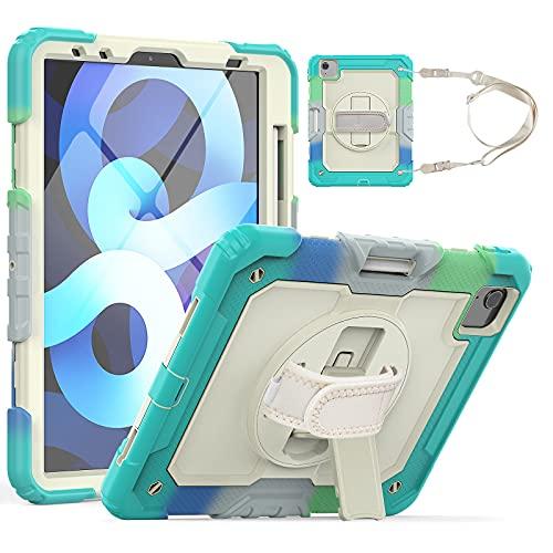 HaoHZ Funda para iPad Pro 11 2nd / 3rd Generation 2021/2020/2018 con Portalápices, Funda Protectora De Silicona A Prueba De Golpes + Soporte + Asa para Hombro,Blue 1