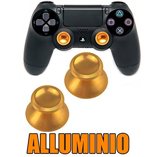 OUTLETISSIMO SET 2 LEVE ANALOGICO METALLO ALLUMINIO CONTROLLER PS4 PS3 XBOX ONE 360 DORATO