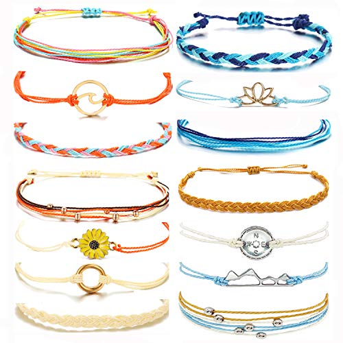 choice of all Sunflower Anklet Bracelet for Women Adjustable String Ocean Wave Ankle Bracelets Beach Boho Hawaii Jewelry Gifts for Girls C:2 Sets