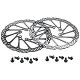 CYSKY Rotor de Freno de Disco de 160 mm 2 Paquetes Rotor de Freno de Disco de Bicicleta de Acero Inoxidable 6 Pernos para la mayoría de Las Bicicletas de Carretera Bicicleta de montaña BMX MTB