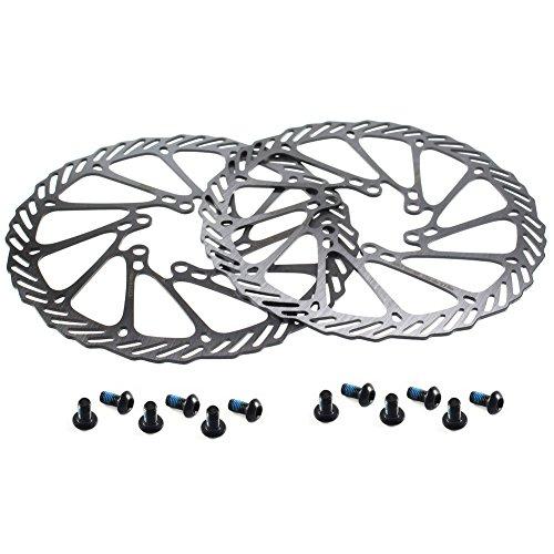 CYSKY 180mm Disco Freno rotore 2 pacchi in Acciaio Inox Bici Freno a Disco rotore 6 bulloni per la Maggior Parte della Bici da Strada Bici da Mountain Bike BMX MTB (180mm)
