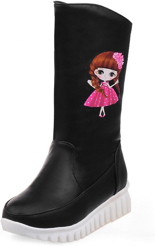 BalaMasa Womens Platform Cartoon Pattern Pull-On Imitated Leather Boots