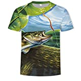 Camiseta Masculina impressa em 3D com padrão de secagem rápida Casual confortável Camiseta de verão novidade Manga Curta,Pesca do robalo,5XL