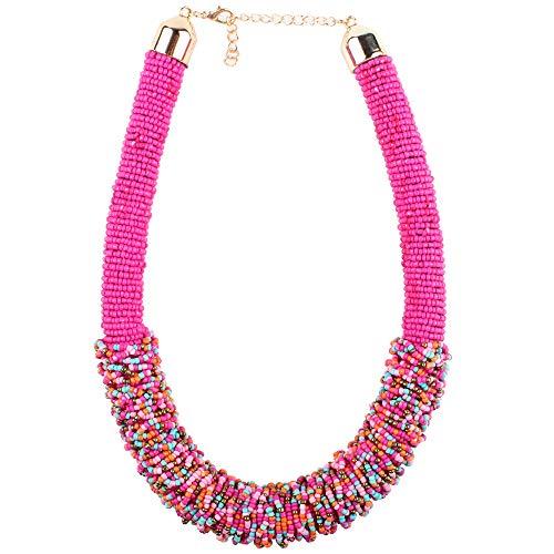 Claire Jin Corto Mujer Collar Bohemio Pequeñas Perlas Collares Moda Joyería Étnica Gargantilla Hecha A Mano Mijo Grano Tejido Mujeres 22 Colores