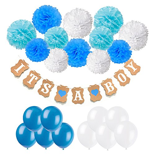 Recosis It's A Boy Papier Girlande Banner Dekoration mit 12pcs Seidenpapier Pom Poms und 20pcs Luftballons für Baby Shower Baby Dusche Girlande Dekoration, Party Foto Requisiten und Baby Deko