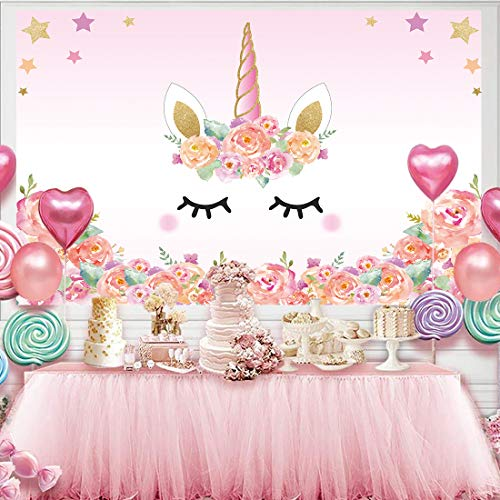 Allenjoy 5x3ft Photography Unicorn Birthday Photo Backdrop Party Supplies Sweet Pink Girls Baby Shower Decorations Background Newborn Child Pastel Color Photo Portrait Studio Dessert Table