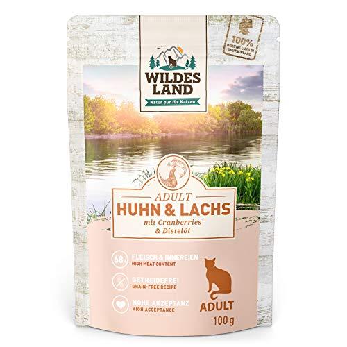 Wildes Land | Nassfutter für Katzen | Nr. 2 Huhn & Lachs | 12 x 100 g | Getreidefrei | Extra viel Fleisch | Beste Akzeptanz und Verträglichkeit