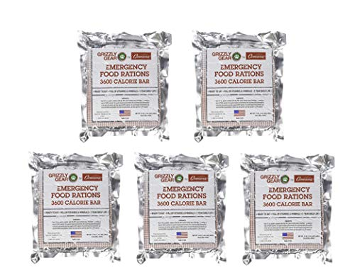 Emergency Food Rations 5 Pack - 3600 Calorie Bar - 15 Day Supply - Less Sugar and More Nutrients...