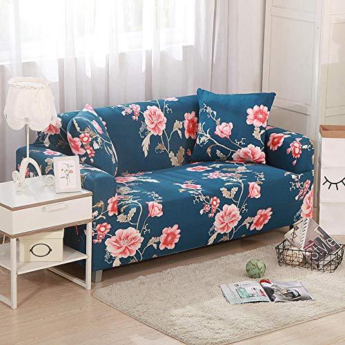 NIASGQW Funda para Sofá Elasticas de 1 2 3 4 Plazas Lmpresión Floral (Gratis 2 Funda de Cojines) Universal Muebles Fundas Decorativas para Sofás - Flores Azules