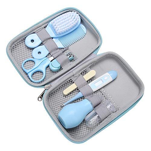 Fdit 8 in 1 Baby Pflegeset Säuglings Maniküre Gesundheitspflege wesentliche Baby Maniküre Set Nagelschere Sicherheits Schere Haar Bürsten Nagelfeile(Blau)