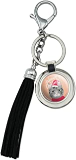 Meowy Merry Christmas Cat in Sweater and Hat Chrome Plated Metal Round Leather Tassel Keychain