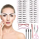 Defrsk 30Pcs Eyebrow Stencil Eyebrow Shaper Kit 24 Styles Extremely Elaborate Reusable Eyebrow