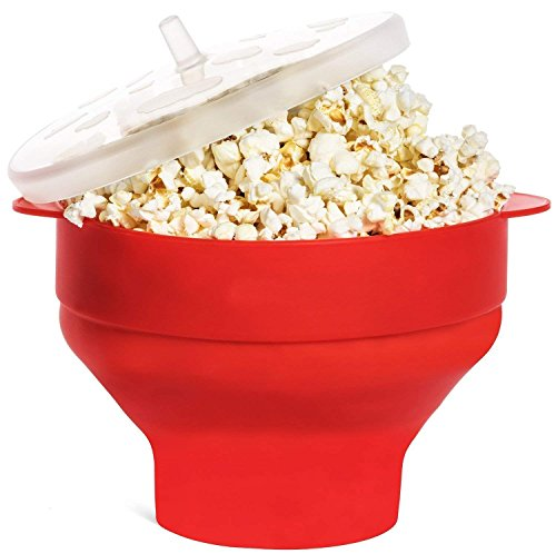 Save %33 Now! Microwave Popcorn Popper Collapsible Popcorn Maker Bowl Silicone Hot Air Pop Corn Bowl...