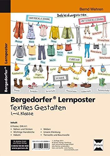 Lernposter Textiles Gestalten - 1.-4. Klasse: 6 Poster für den Klassenraum (Bergedorfer® Lernposter)