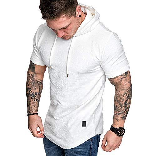 T-shirt décontracté à manches courtes et col rond pour homme Couleur unie - Blanc - XXXL